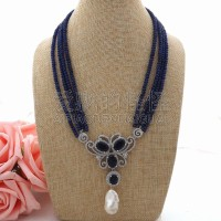 N062109 15x26MM 4Strands White Keshi Pearl CZ Necklace Pendant