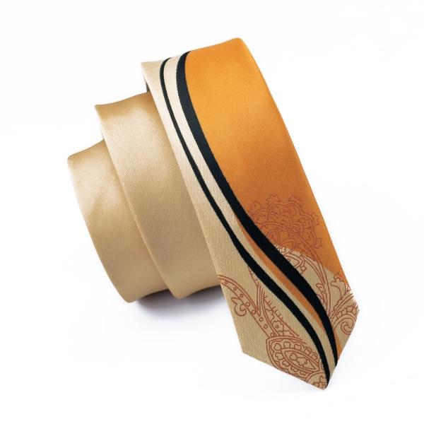 5.5CM Fashion Slim Skinny Golden Orange Tie Gravata Silk Jacquard Woven Narrow Neckties For Men Wedding Party Casual Drop Ship
