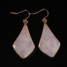 XSM New Stylish 18K Gold Plated Rose Quartz Stone Water Drop Dangle Earrings Fashion Jewelry