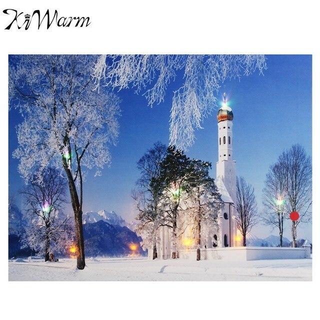Neue Weiße Haus Schnee Landschaft Leuchten LED Leinwand Malerei Wandbild Für  Haus Zimmer Hotel Flur Weihnachten