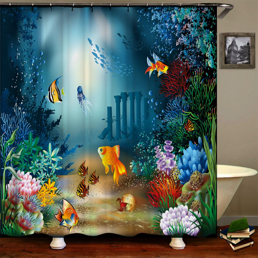 Ocean Shower Curtains Tropical Fish Coral Undersea World