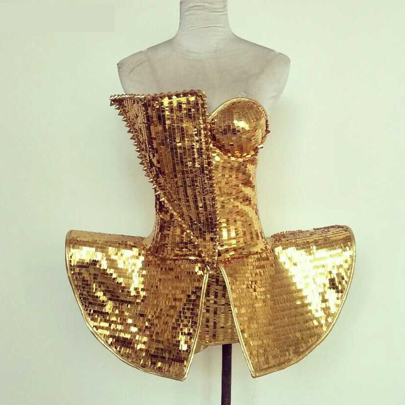 Femelle Or Paillettes Body combinaison sexy Costumes Chanteur Danseur Discothèque Bar De Mode DJ Style une pièce DS Vêtements de Performance
