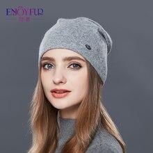 ENJOYFUR Outono Inverno Grossa de Lã Quente Cap Chapéu Chapéus Para As Mulheres de Boa Qualidade Para As Meninas do Sexo Feminino Inverno Caps