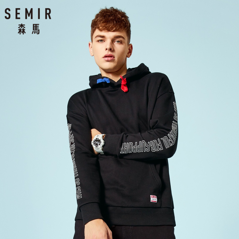 SEMIR Men Print Sleeve Hooded Sweatshirt with Kangaroo Pocket Pullover Hoodie with Elastic Drawstring Hood Ribbed Cuff and Hem