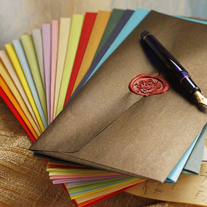 50pcs/set Creative European Vintage Envelope Color Envelope For Wedding Invitations Birthday Christmas Writing Paper Stationery