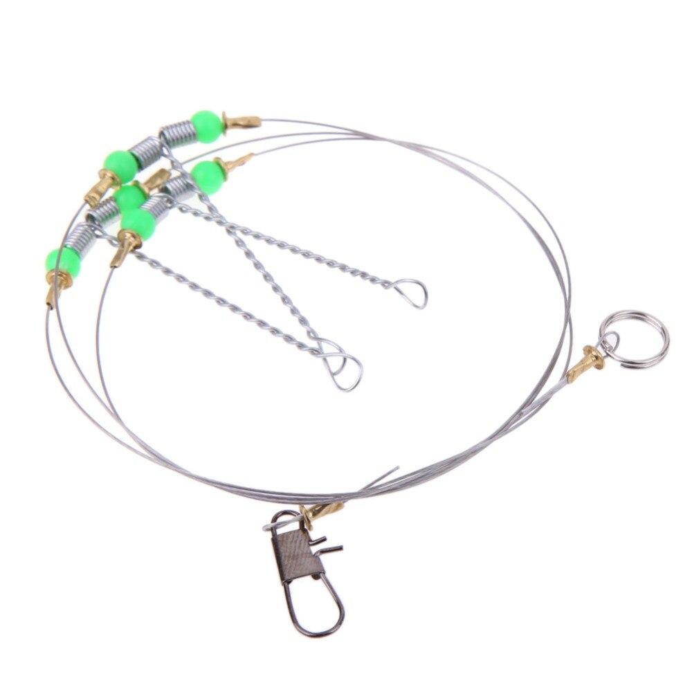 5pcs anti winding 6 swivel string fishing hook steel rigs for Swivel hook fishing