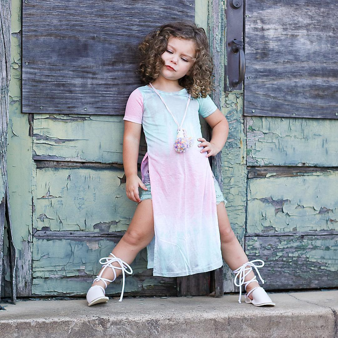 2018 Adorable Kids Baby Girls Gradient Short Sleeve Split Dress Little Girls Rainbow Top Outfit Clothes Summer Clothing
