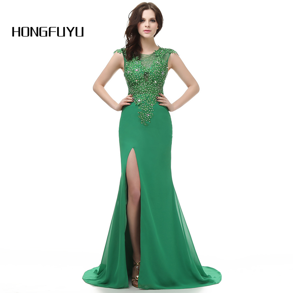 High Slit Green Scoop Neck Appliques Long   Prom     Dresses   2019 Cap Sleeves Floor Length Satin Mermaid Beading   Prom     Dress   DB273