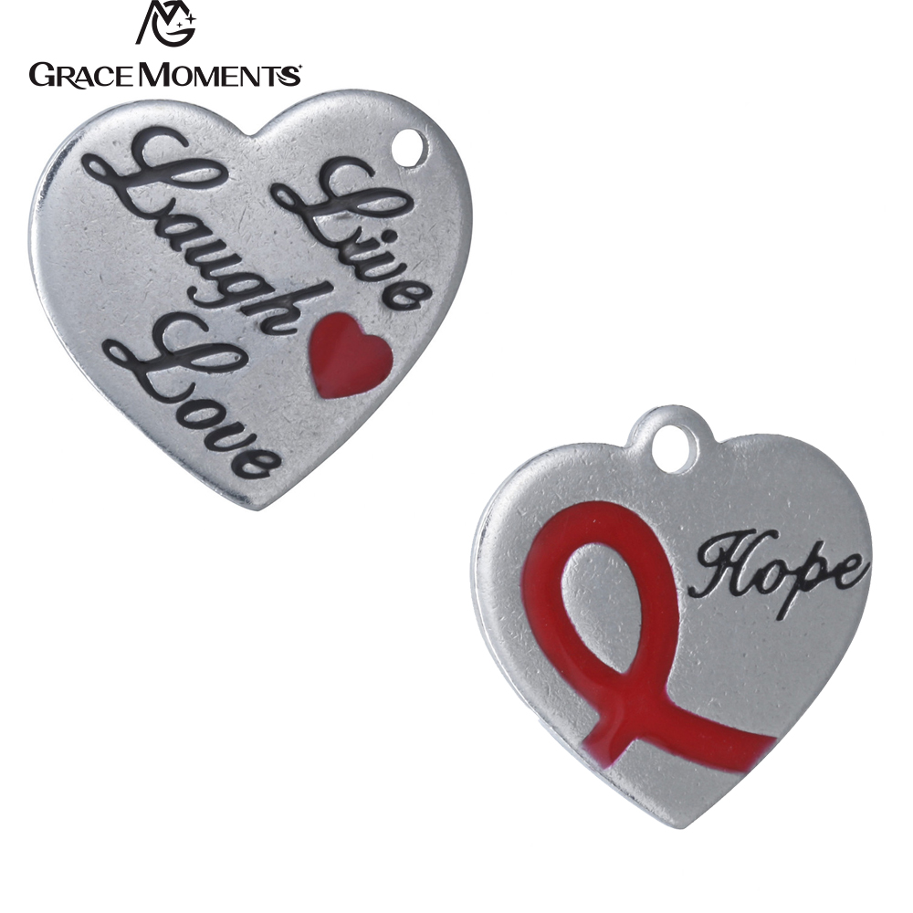 10pcs/Lot Grace Moments DIY Charms 316L Stainless Steel Charm Live Laugh Love Hope Hearts Charms Women Jewelry Accessories Gift