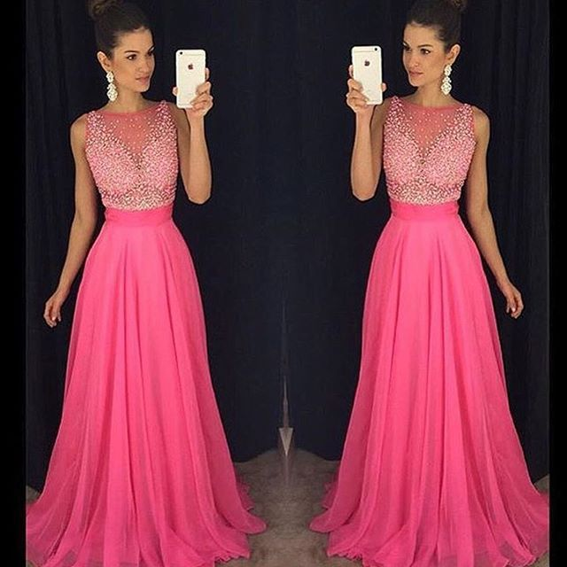 Beautiful Illusion Neck Beads Wedding Guest Dresses Long Chiffon Hot Pink Prom Dress In From Weddings Events On Aliexpress Alibaba
