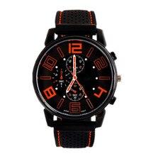 Men Quartz Analog Watch Silicone Strap Band Round Dial Sport