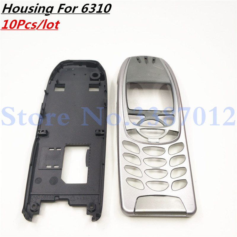 10Pcs For <font><b>Nokia</b></font> 6310i Cover Case Housing <font><b>6310</b></font> Battery Door Middle Frame Front Bezel Replace Part NO Phone Keyboard Keypad + Logo image