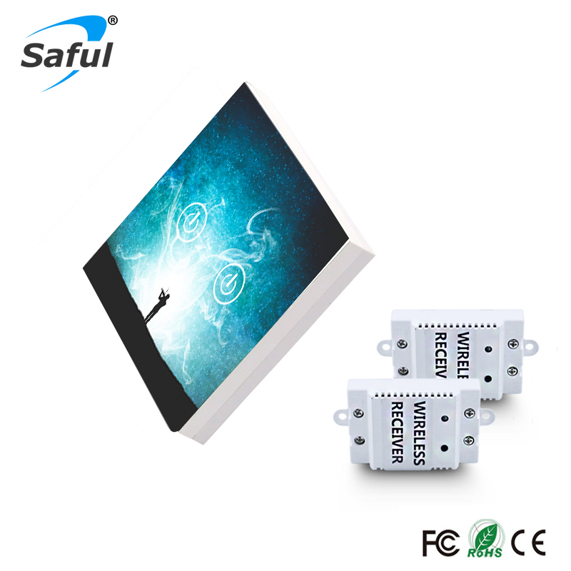 Saful Wireless Switch 2 gang 2 Way Remote Control Touch Switch DIY Painting Wireless Touch Switch Free Shipping eu us smart home remote touch switch 1 gang 1 way itead sonoff crystal glass panel touch switch touch switch wifi led backlight
