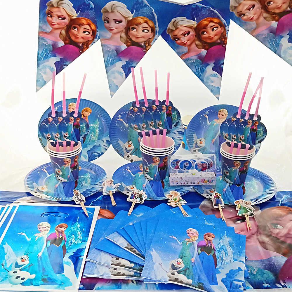 100pcs feliz aniversário crianças disney congelado elsa anna menina bebê chuveiro partido decoração set bandeira toalha de mesa copo placas fornecedor
