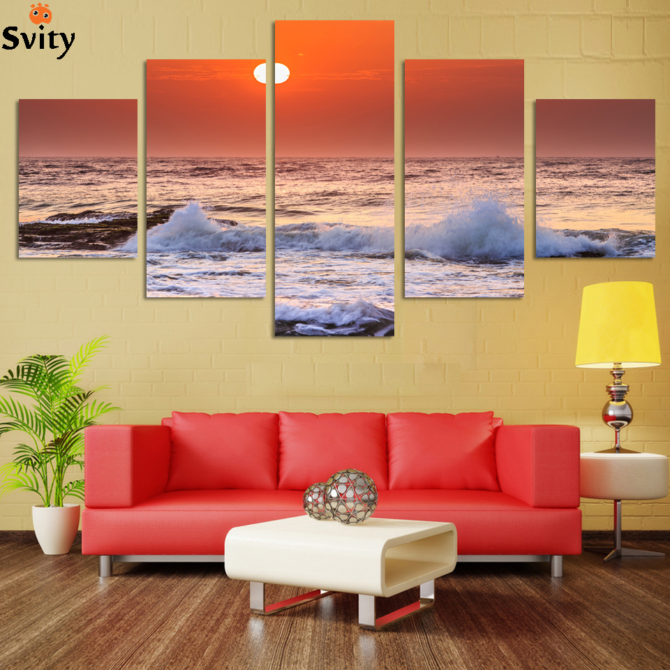 NO FRAME CANVAS ONLY 5 pieces Sunrise on the beach with screw ocean wave wall painting print on canvas home decor Free Shipping