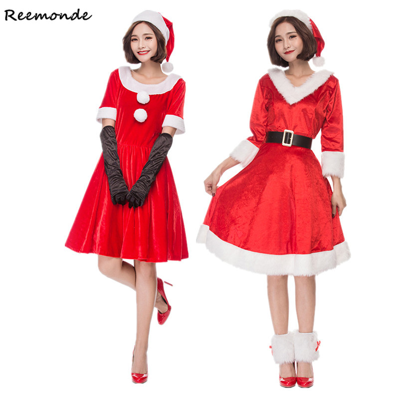New Year Christmas Cosplay Costumes Santa Claus Deluxe Velvet Red Dresses Skirt Hats Belt Uniform For Adults Women Girls Clothes