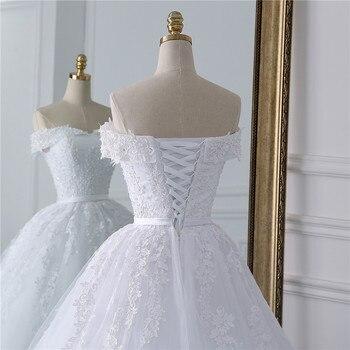 Fansmile 2019 Lace Gowns Wedding Dress Robe Princesse Mariage Plus Size Long Train Tulle Mariage Bridal Wedding Turkey FSM-433T 5