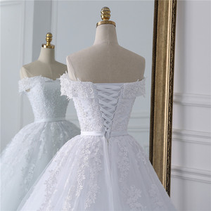 Image 5 - Fansmile 2020 Lace Gowns Wedding Dress Robe Princesse Mariage Plus Size Long Train Tulle Mariage Bridal Wedding Turkey FSM 433T