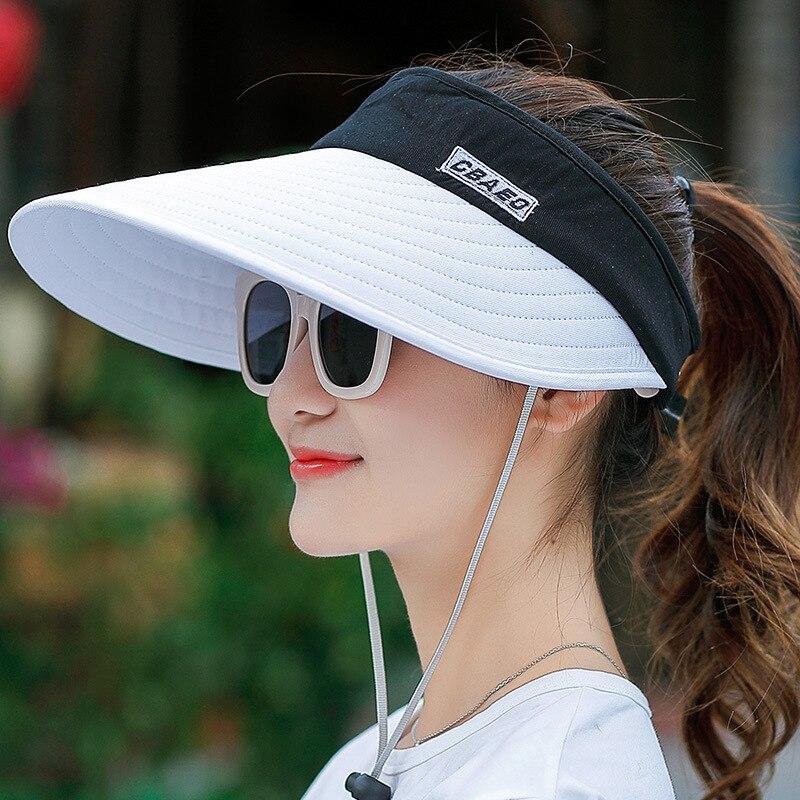 Women Summer Sun Visor Wide-brimmed Hat Beach Hat Adjustable UV Protection Female Cap  Packable