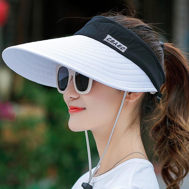 women summer sun visor wide brimmed hat beach hat adjustable UV protection female cap  packable