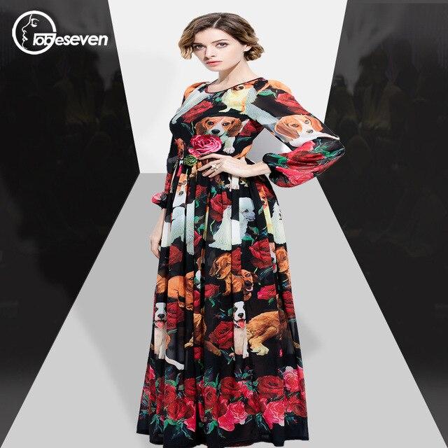 8737698a2afc 2017 European Custom Made Autumn New Dog Print Long Sleeve Holiday plus  size dresses for women 4xl 5xl 6xl 7xl