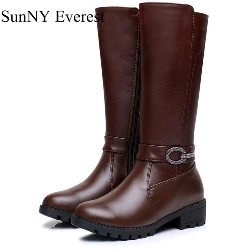 New SunNY Everest cow leather mid-caf zipper women boots winter mother boots de mujer plush black brown 35-43 us11 12 рюкзак case logic 17 3 prevailer black prev217blk mid