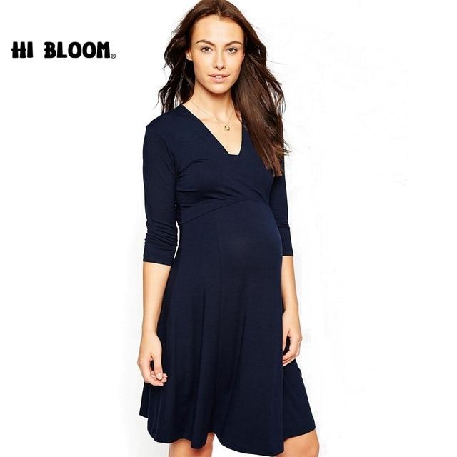 9815529f6 Elegante primavera otoño Vestidos de maternidad vestido Formal para las mujeres  embarazadas elástica embarazo vestido maternidad