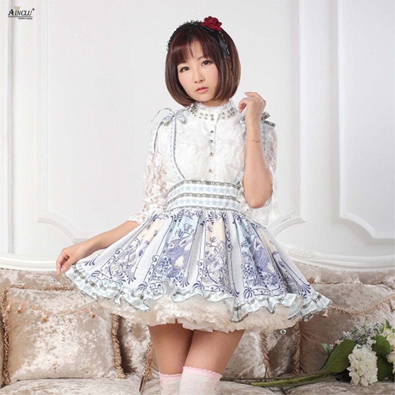 Romantic Above Knee, Mini Lolita Suspender Skirts Womens Blue Polyester Lace Animal Print Sweet Fresh Ball Gown Lolita Skirts