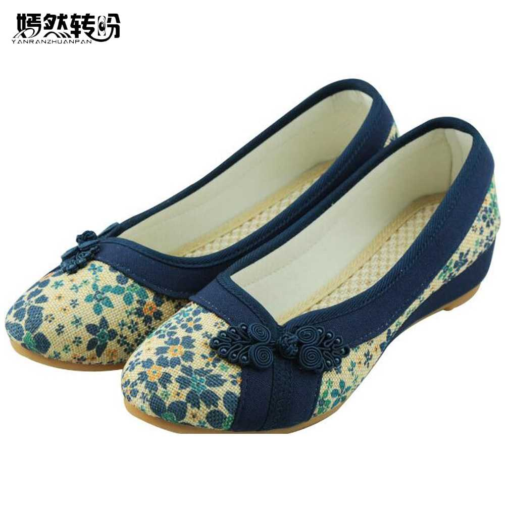 Summer Retro Style Shoes Women Old Peking Flats Chinese Flower Embroidery Canvas Linen Shoes Sapato Feminino Size 35- 40