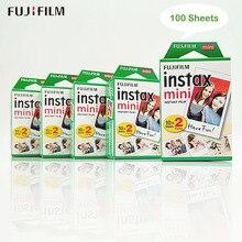 100 folhas fujifilm papel fotográfico, fuji instax mini filme branco instantâneo para instax mini 9 8 7s 70 90 25 câmera SP 2 SP 1 + presente gratuito