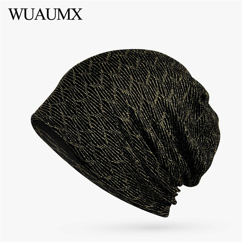 Wuaumx Spring Summer Hats For Women Gold Silver Line Turban Hats Hollow Breathable Hedging Hats   Skullies     Beanies   Bagyy Cap