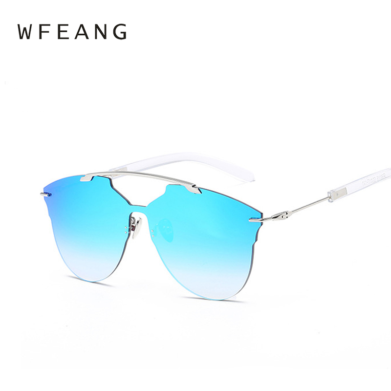 WFEANG luxurious Sunglasses Women 2019 Cool Round Sun Glasses Fashion Driving Eyewear Lady Luxury Brand Goggles Blue Oculos