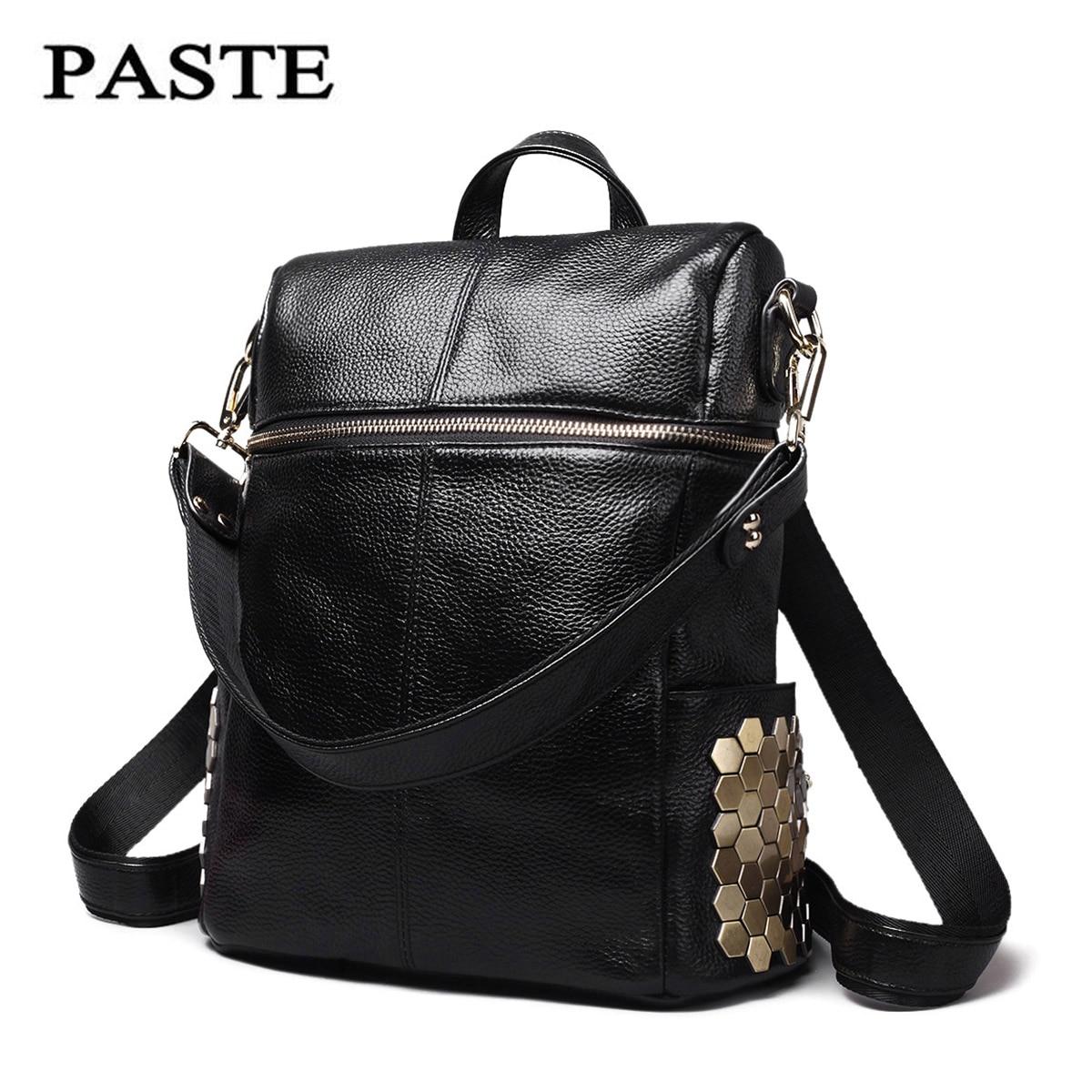 ФОТО PASTE Rock style genuine leather women backpack Fashion Rivet decoration women's travel Shoulder bag Soft Cowskin women Punk bag