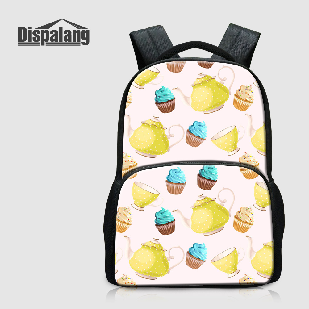 Dispalang Icecream Printed Laptop Backpacks For Women 17 Inch College Students School Bags Canvas Bookbags Teenage Girls Mochila