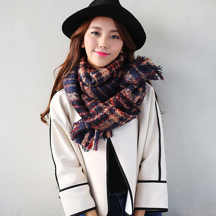 women Korea style dual-use winter long thickening pashmina Double check imitation cashmere scarf long scarf,nice good looking