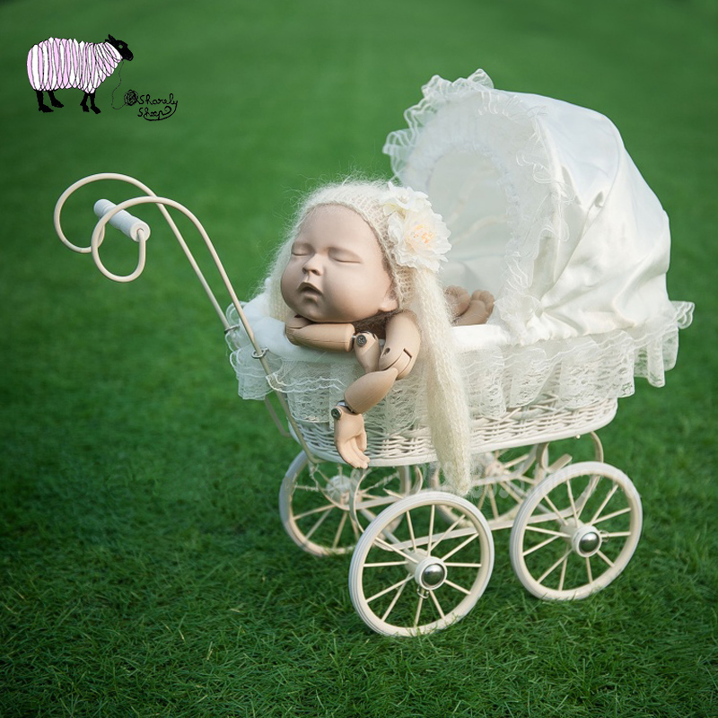 Newborn Photography Trolley Car Props Baby Girl Photo Shoot Posing Studio Cradle Basket Props Infant bebe fotografia Accessories-in Hats & Caps from Mother & Kids    1