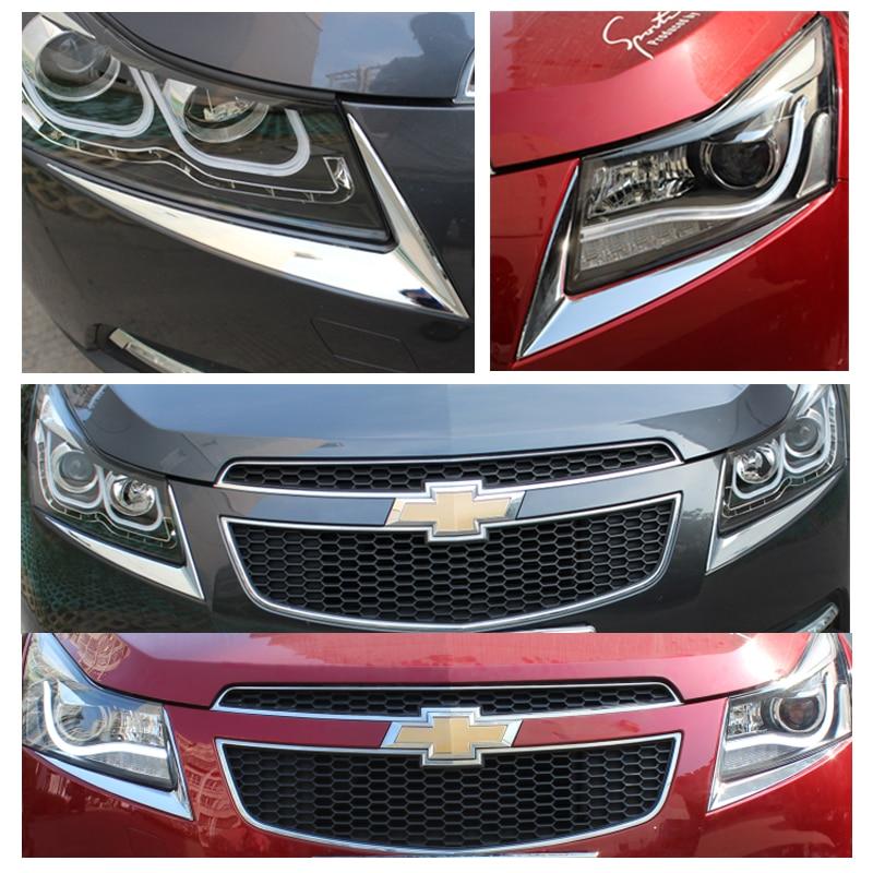 2 Pcs/Set ABS Chrome Headlight Trim Sticker Lamp Eyebrow Cover Decoration Strip Stickers For Chevrole Cruze Sedan Hatchback
