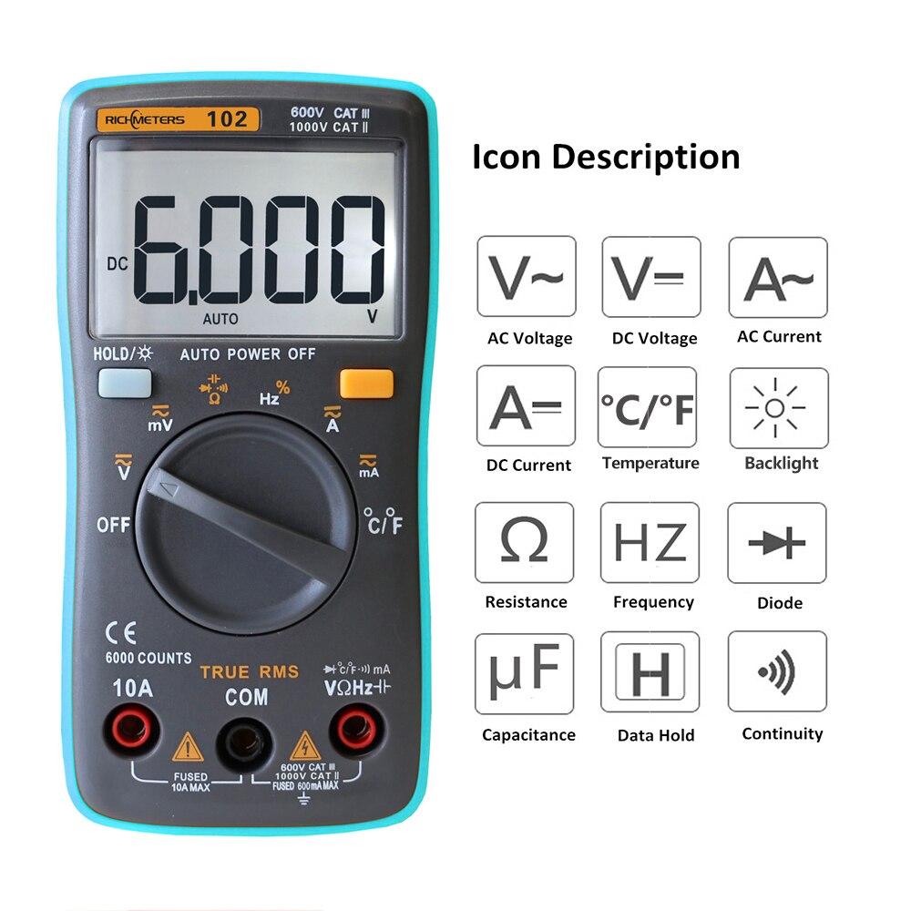 RICHMETERS RM102 Multifunzione Multimetro Digitale AC/DC Tensione corrente pinze Resistenza Diodo di Capacità Temperatura Tester