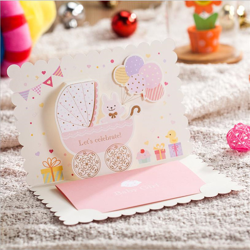 30ps 3D Pop Up Baby Shower Boy Greeting Invitations Girl Birthday Invitation Card Pink Blue Happy Gift
