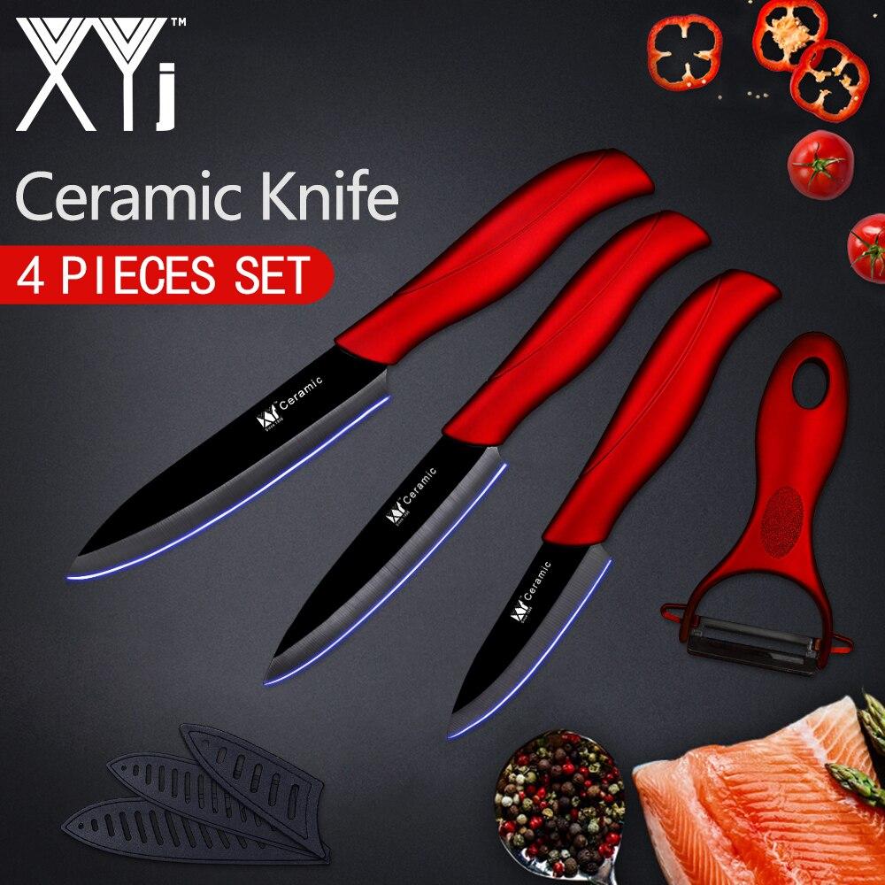 XYj Kitchen Knife Ceramic Knife Cooking Tools Set 3 4 5 inch + Peeler White & Black Blade Paring Fruit Vege Kitchen Tools