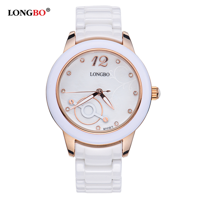 b7cb9c543 2017 LONGBO Luxury Brand Fashion Quartz Ceramic White Gold Strap Women  Wrist Watch Unique Geneva Hodinky Clock Relogio Feminino