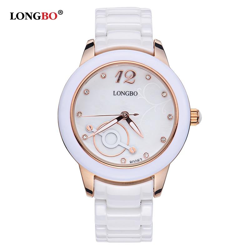 2019 LONGBO Women Watches Luxury Brand Fashion Quartz Ceramic White Gold Strap Women Wrist Watch Relogio Feminino Reloj Mujer