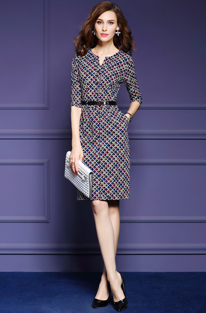 Zmvkgsoa Elegant Autumn Vintage Dress Fall Women Casual Half Sleeve Knee Length Multicolor Plaid A-Line Dress Feminina Y1697 3