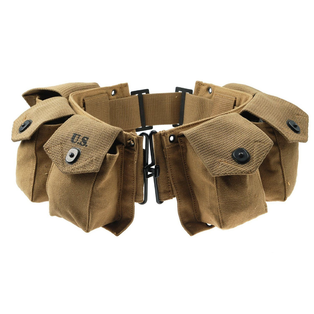 WWII 2 US ARMY INFANTRY USMC M1 PARATROOPER BAR EQUIPMENT AMMO COMBAT BELT POUCH World military