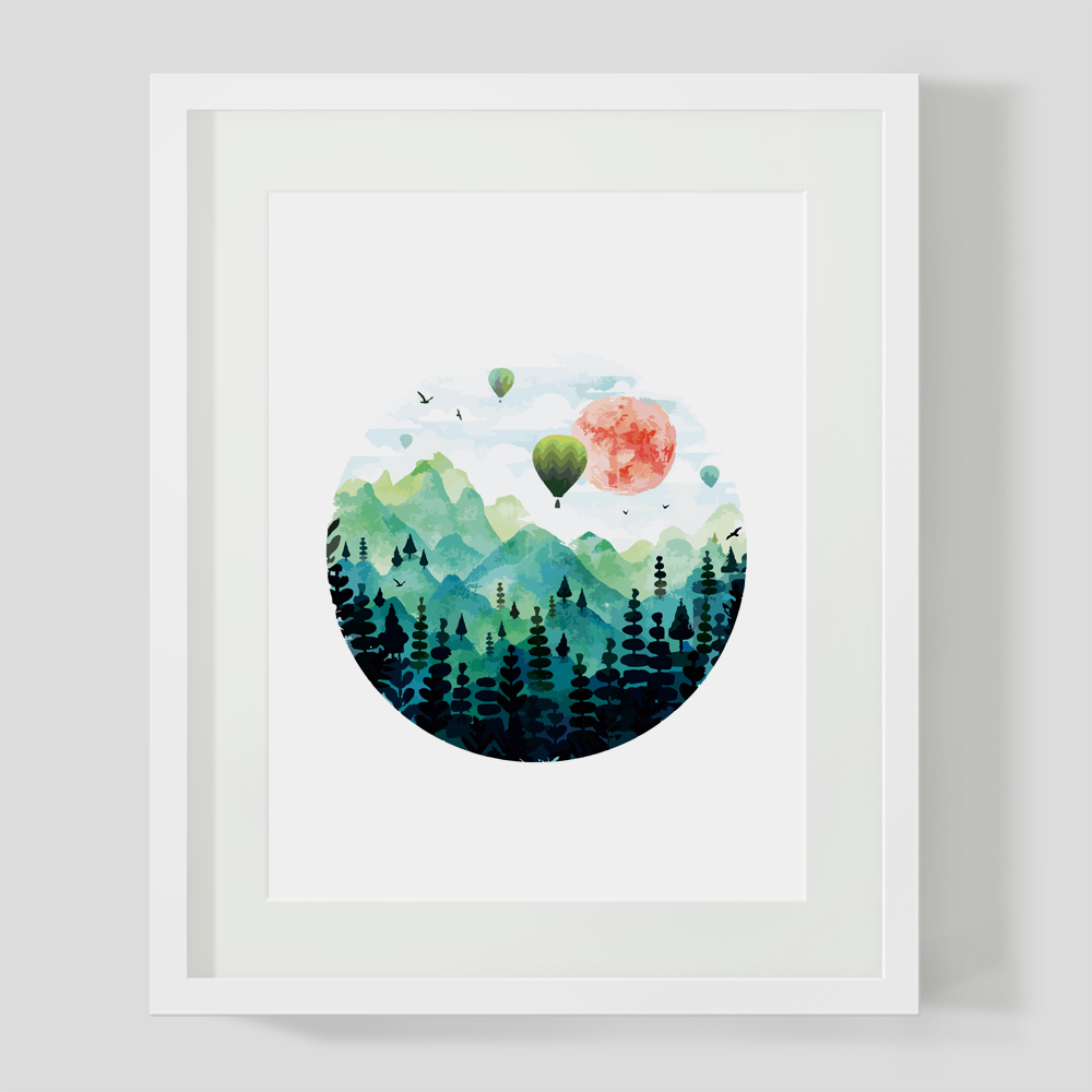 Hot Air Balloon Art Print Paper Watercolor Tattoo Painting Green Mountain Sun Decor Wall Picture for Home Decoration Z210 blouse