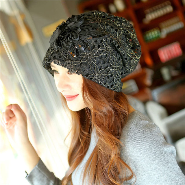 efc916384f1 autumn winter Multi-function Set head caps Thin face cap Knitted cap  Imitation of cashmere hat Hollow ou Bud silk turtleneck cap