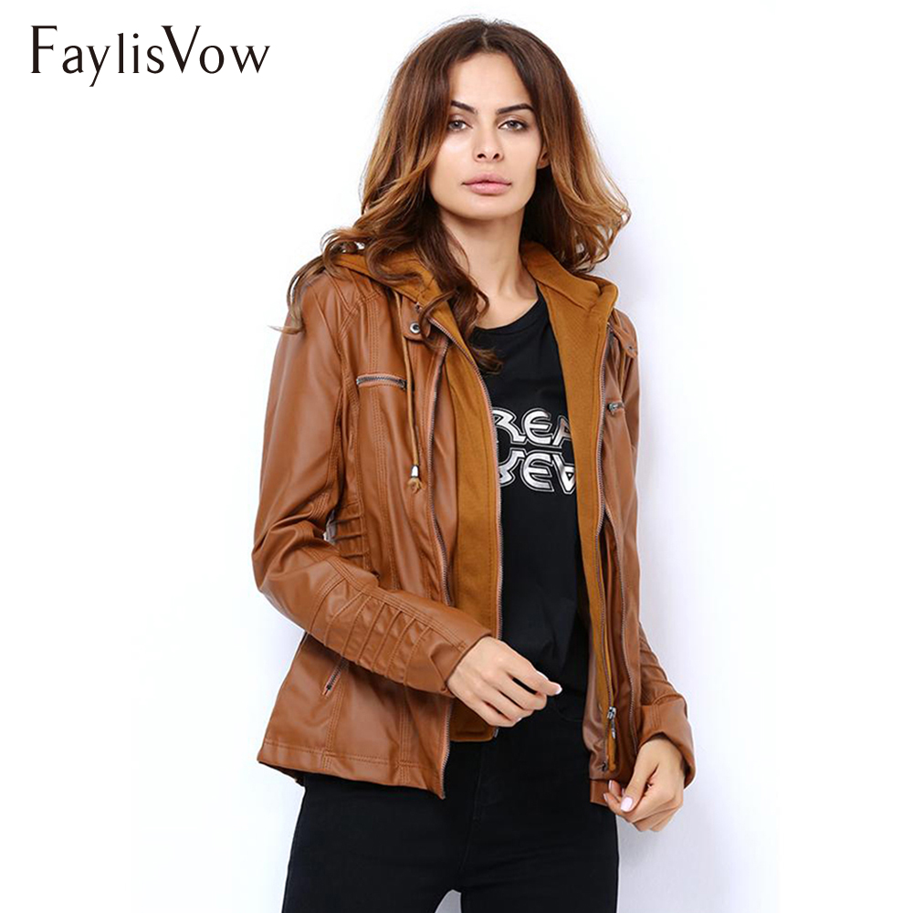 Plus Size XS-7XL   Leather   Jacket Autumn Winter Long Sleeve Zipper Stylish Slim Removable Hooded PU   Leather   Jacket For Women Coat