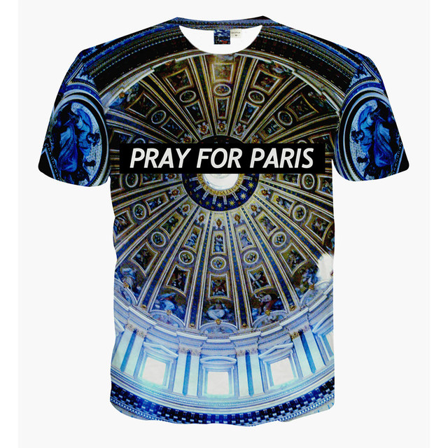 3d pray for paris t shirt casual men fitness tops harajuku romantic