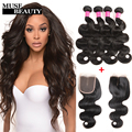 10A Malaysian Wavy Hair Weave 4 bundles With Closure Body Wave Natural Human Hair With Closure Pre Plucked Frontal Bundle Deals