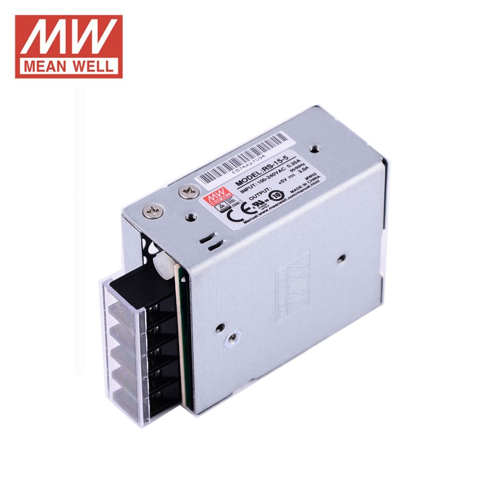 HTB1BDGSaiERMeJjy0Fcq6A7opXaU - ac dc power source 5V 3A 15W Original Meanwell Switch Power Supply RS-15-5 Miniature size 300VAC input surge SMPS PSU 5V DC